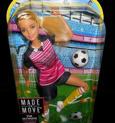 NEW Soccer Made to Move Barbie Doll NIB Blonde Sports Player 22 Pts ARTICULATION