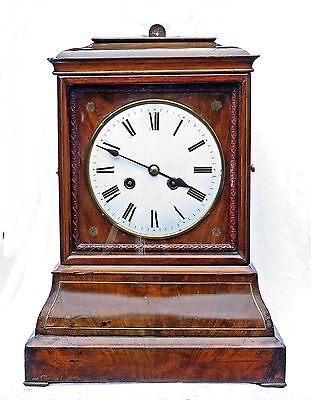 "Large Antique English Regency Double Fusee Striking Mantel Clock, 18"", Serviced"