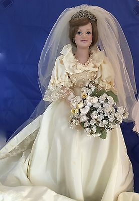 "Danbury Mint The Princess Diana Bride Doll Porcelain 19"" Tall With Box"