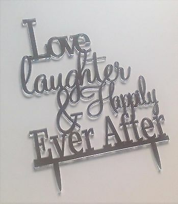 silver mirror or black acrylic monogram wedding cake letters toppers
