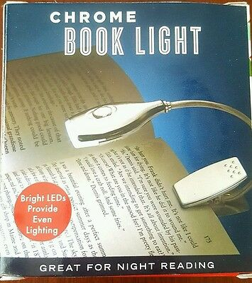 Chrome Led Book Light, Great For Night Reading, New In Box