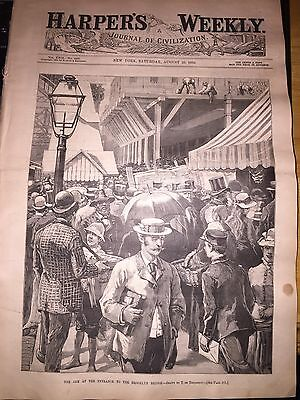 August 29th 1885 Harper's Weekly - BROOKLYN BRIDGE