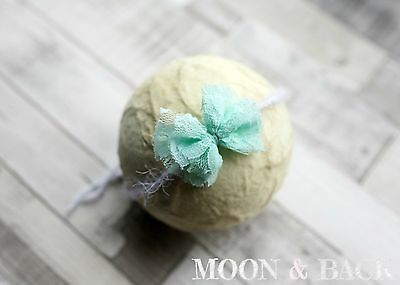 Handmade Mint Green Lace Bow Tieback Headband Newborn Photo Photography Prop