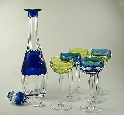 Val St. Lambert of Belgium * Decanter with 6 glasses * Blue/Yellow Cut Crystal