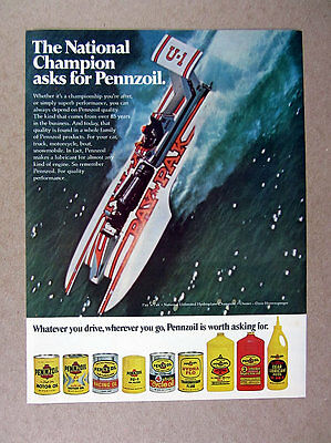 1975 Pay n Pak Hydroplane Racing Boat photo Pennzoil Oil vintage print Ad