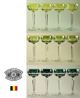 "Val St. Lambert of Belgium * 12 ""Bonn"" wine goblets * Green/Yellow * Rare"