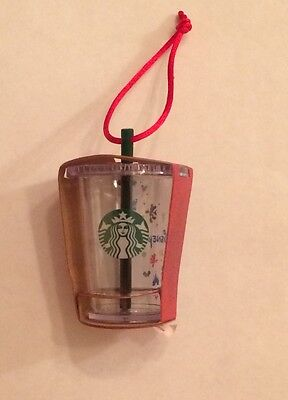 """NWT Disney Parks Exclusive Starbucks Clear Cold Cup with Straw 3"""" Christmas Tree"""