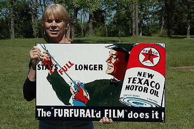 OLD STYLE TEXACO MOTOR OIL FURFURAL'd FILM STEEL 2 SIDE SWINGER SIGN MADE IN USA