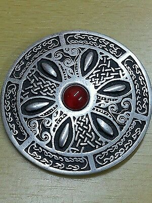 Huge Vintage St. Justin Pewter Celtic Wheel Brooch Faux Carnelian