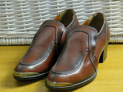 80s Mens Size 7 Brown Leather High Heel Metal Tip Loafer Slip On Shoes DISCO