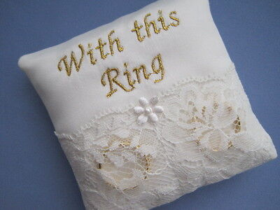 """9cms PERSONALISED """"WITH THIS RING"""" IVORY BRIDAL SATIN/ LACE WEDDING RING CUSHION"""
