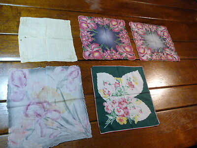Small Lot Vintage Ladies Cotton Floral Handkerchief Hankies  For CRAFTS