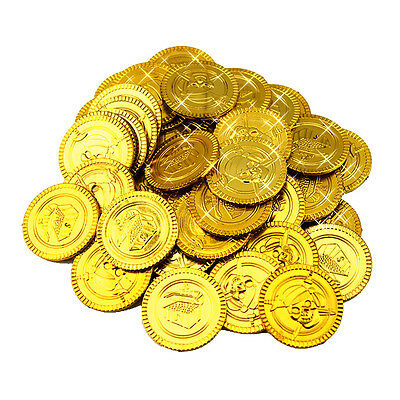 100 PLASTIC GOLD COINS PIRATE TREASURE Booty PLAY MONEY BIRTHDAY PARTY FAVORS