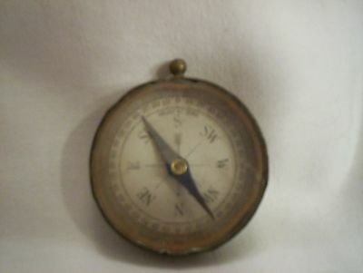 Antique Vintage Brass Pocket Compass Made In The USA