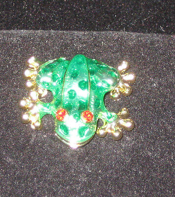 FROG Pin Goldtone Green Enamel Red Crystal Eyes New Brooch