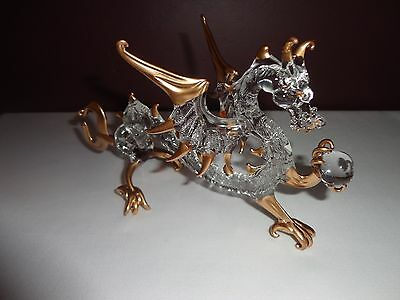 Dragon Gold Clear Figurine of Blown Glass Crystal