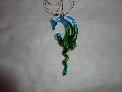Hanging Blue Green Dragon of Blown Glass Crystal