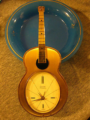 Vintage Swiza Guitar Musical Music Novelty Alarm Clock 7 Jewels Swiss White Dial