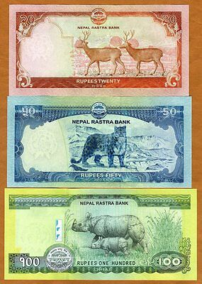 SET Nepal 20;50;100 Rupees 2015-2016 P-New UNC Everest Snow Leopard, Rhyno, Deer