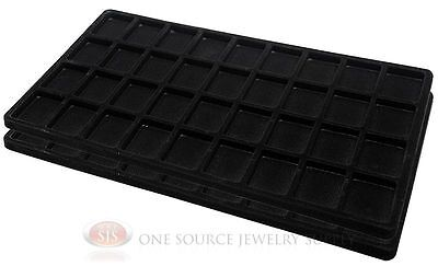 2 Black Insert Tray Liners W/ 36 Compartments Drawer Organizer Jewelry Displays