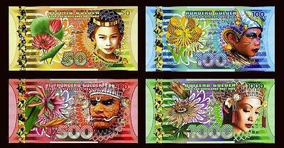 SET Netherlands Indies (Indonesia), 50;100;500;1000 Gulden, 2016, Polymer UNC