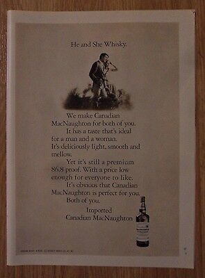 1970 Print Ad MacNaughton Canadian Whiskey ~ 86.8 Proof The He & She Whiskey