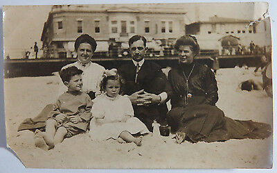 Antique Victorian Photograph of a Family on the Beach, Girl Has Creepy Doll