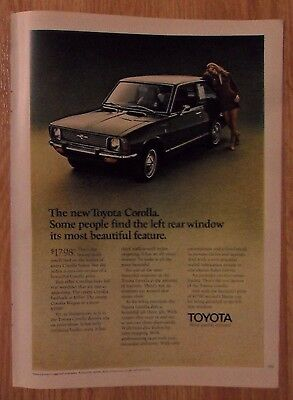 1970 Print Ad Toyota Corolla Automobile Car ~ Left Rear Window Most Beautiful