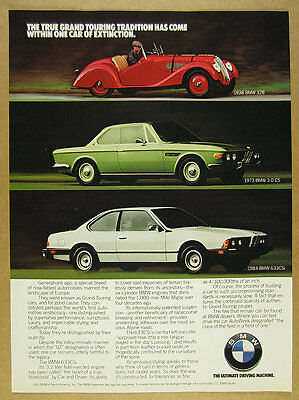1984 BMW 633CSi 1973 3.0 CS & 1938 328 red green white cars vintage print Ad