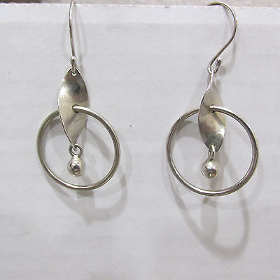 Signed ATI 925 Silver Mexico Modernist Dangle Earrings