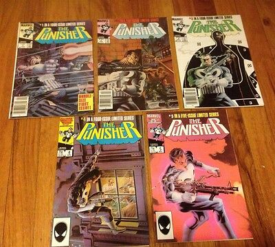 PUNISHER #1-#5 1 2 3 4 5 complete 1st mini-series MIKE ZECK art 1986 w/ Doubles!