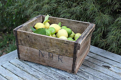 Pair of Timber Boxes Solid Old Vintage Wooden Strong Storage Crate Planters