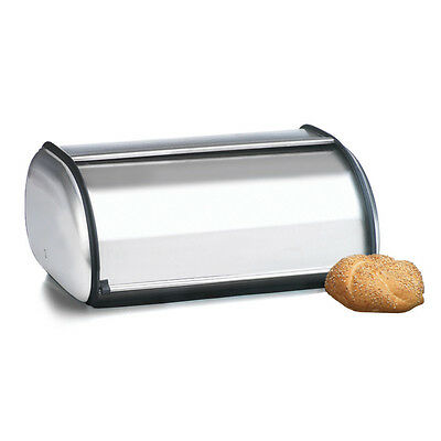2 Loaf Bin Bread Box Large Storage Container Rolltop Kitchen Stainless Steel NEW