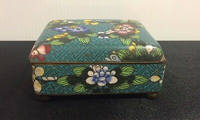 CHINESE CLOISONNE BOX vintage antique metal enamel China old enameled early