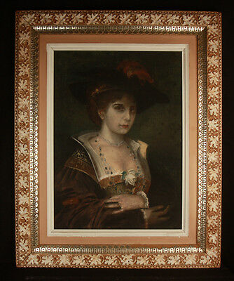 Antique Oil Painting Victorian Woman Gold Rings White Rose Portrait Unsigned Old