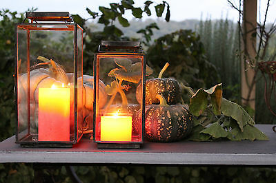 Set of 2 Candle Lanterns Garden Rustic Zinc Heavy Quality Handmade Clear Glass