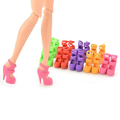 10 Pairs Doll Shoes Bandage Bow High Heel Sandals for Barbies Color Random AU