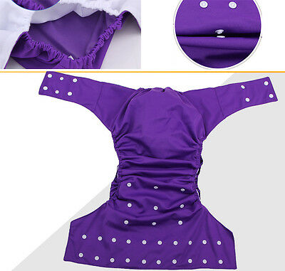 Absorbent Adjustable Purple Adult Diaper Washable Urinary Incontinence Nappy TP