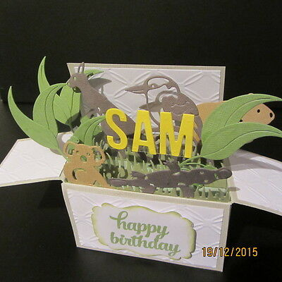Handmade 3D birthday card in a box -Australiana, PERSONALISED