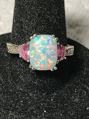 10K White Gold Synthetic Opal & Pink Gemstone Ring   Size 7.75