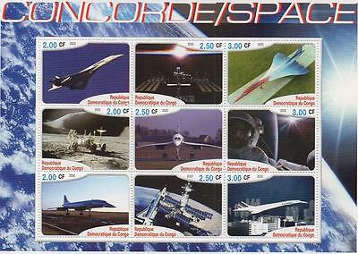 Concorde Space Travel Astronaut Moon Landing 2002 Mnh Stamp Sheetlet