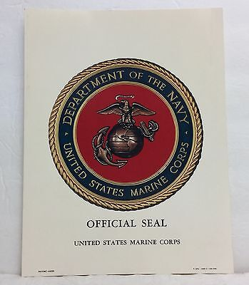 "8"" x 10"" 1968 Official Seal United States Marine Corps USMC"