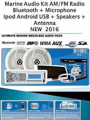 Marine Audio Kit MP3/USB/AM/FM/BT Latest Boat Stereo AUX input Waterproof NEW