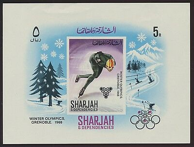 Sharjah Olympische Winterspiele 1968 Grenoble Block 31 ** MNH
