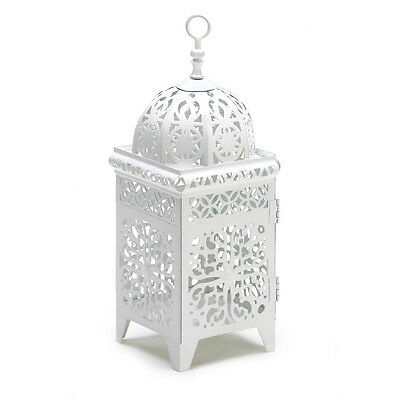 White Scrollwork Candle Lantern Floral Cutout Filigree Bright WOW