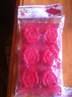 Ernesto Valentines Day Rose Shaped Silicone Muffin Baking Moulds Red