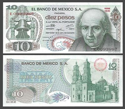 Mexico 10 PESOS 1975 Sign.5 Red seal P 63h UNC OFFER !