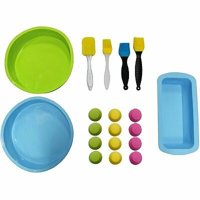 20 Piece Silicone Baking Bakeware Set- Loaf Tin, Spatula, Cake Tin, Pastry for