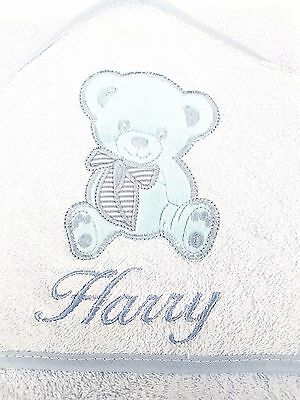personalised PINK ROCKY Beautiful Embroidered Baby Hooded Towel - Bath Robe