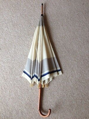 VINTAGE 20s-40s BLUE CREAM STRIPE UMBRELLA/PARASOL~FLAPPER/DECO/DRESS-UP FRENCH